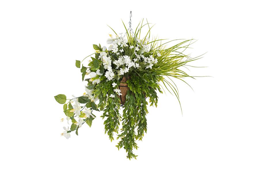 Hanging Basket White Geraniums With White Flowers & Foliage