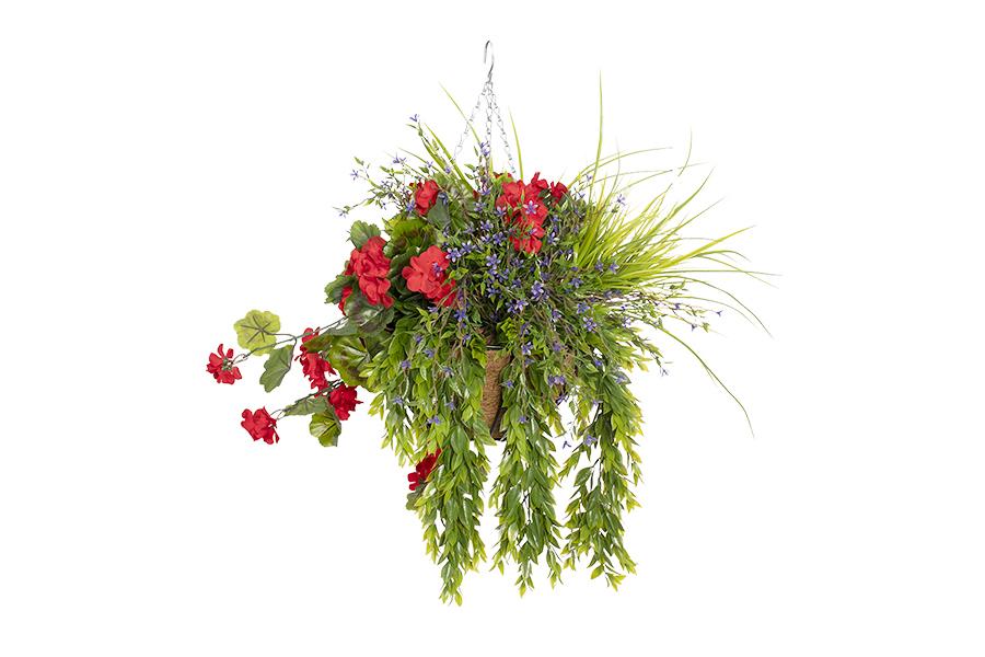 Hanging Basket Red Geranium, Purple Flowers & Foliage