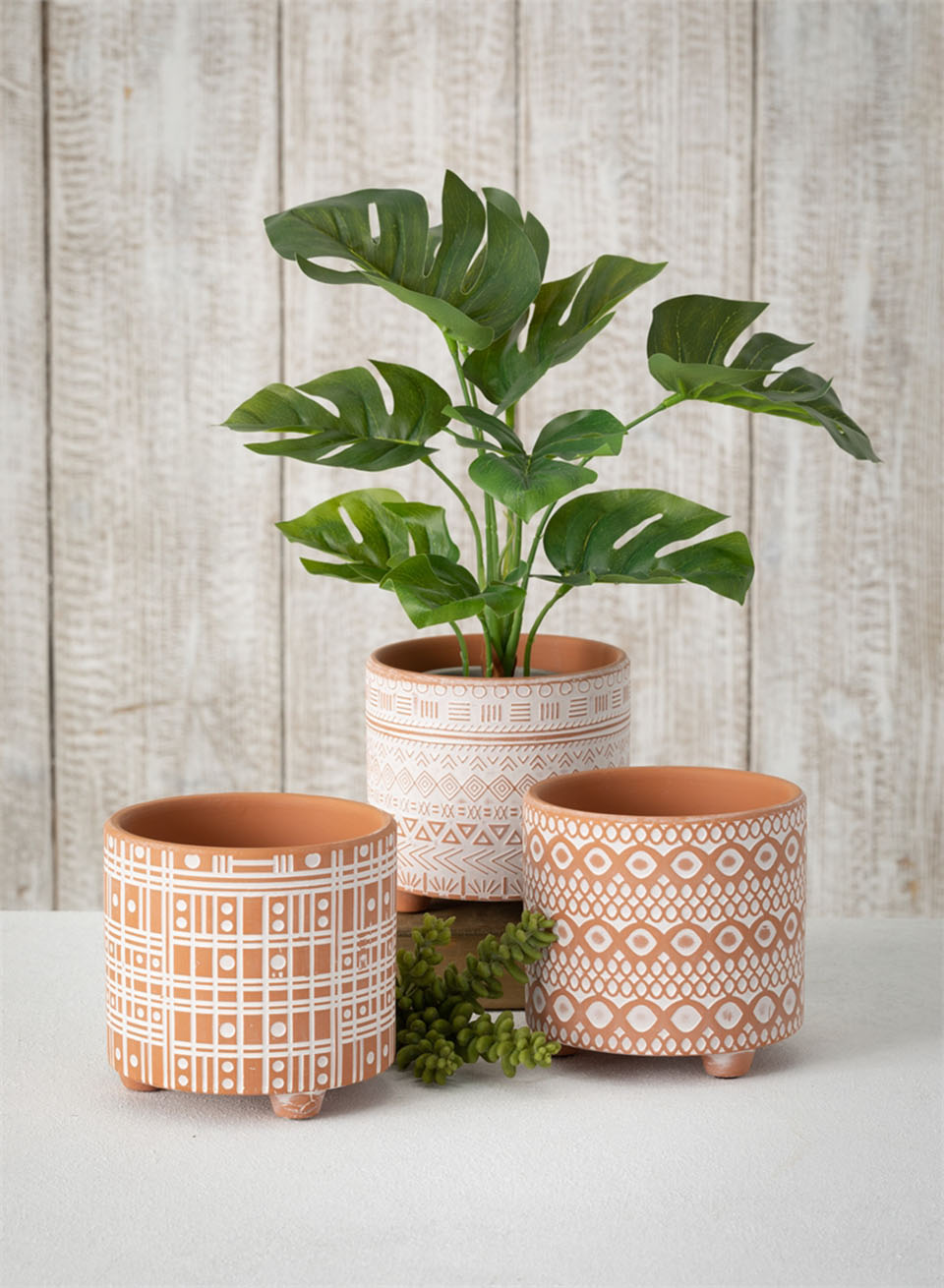 3 Patterned Clay Pots Assorted