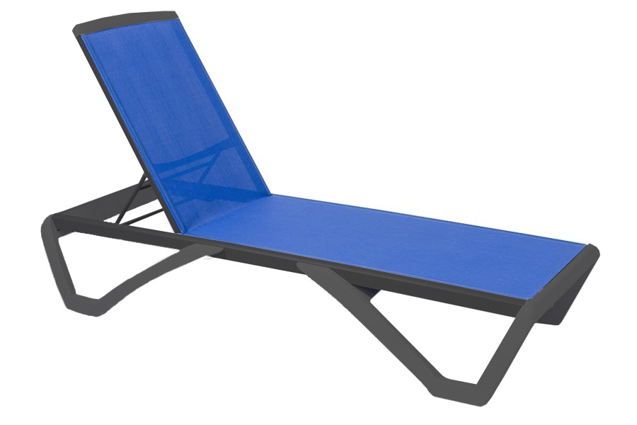 Anthracite/Royal Blue Chaise Lounge